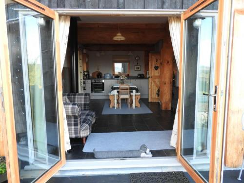 Looking into lodge from patio doors